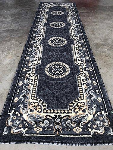 Kingdom Traditional Long Persian Runner Area Rug Grey & Black Design D123 (2 Feet 4 Inch X 10 Feet 11 Inch)