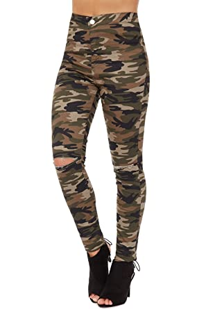 786c38bcb9efdd WearAll Womens Camouflage Cut Knee Jeans Print Skinny Fit Ripped Torn  Bottoms Pants 6-16: Amazon.co.uk: Clothing