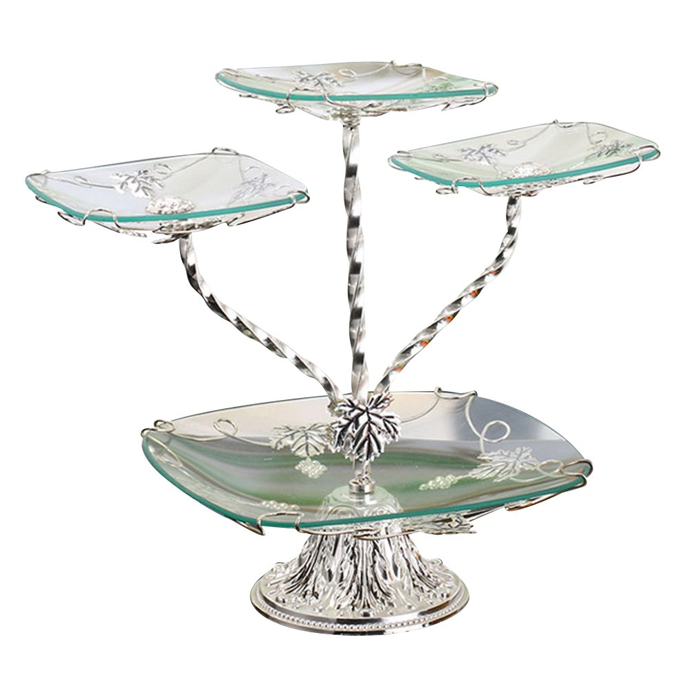 iecool Four-layer Glass Dessert Plate Stainless Steel Fruit Plate Silver