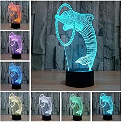 Lightess 3D Night Lamp Touch Control Table Desk Light 7 Color Change Home Decor Funny Gift (Dolphin)