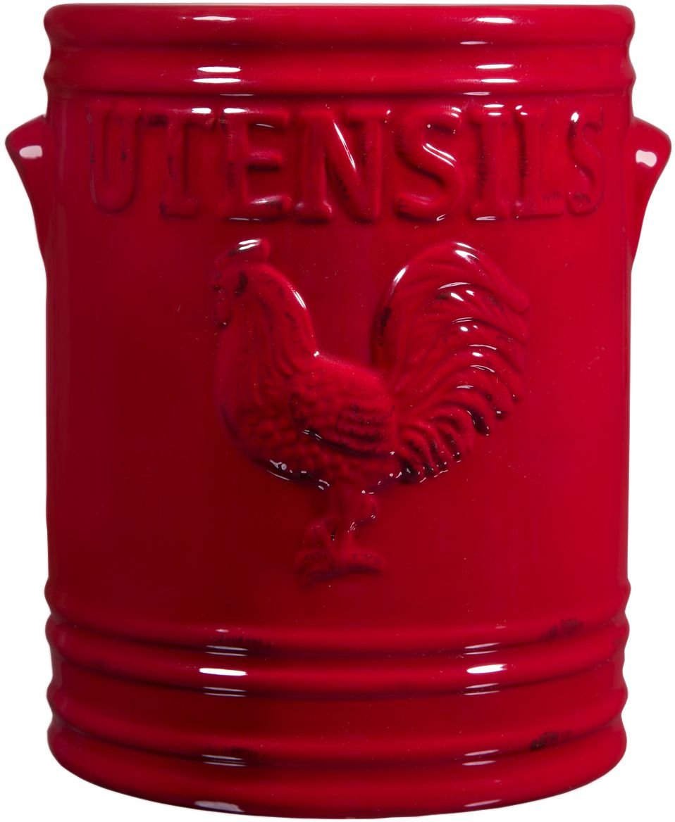 Home Essentials Rooster 7'' H Utensil Crock Red W/Embossed Handles 7'' H W