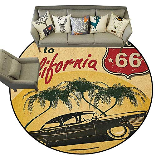 Retro,Carpet Flooring Retro Welcome to California Advertising Seat of Hollywood in Pop Art Style Print D60 Soft Area Rug for Children Baby (Gold California Flooring)