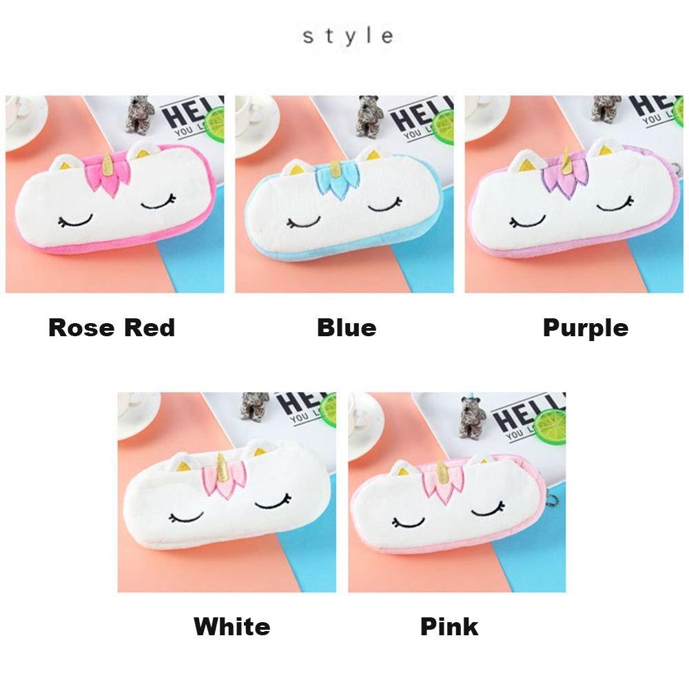 violet et rouge violet Coloris/: bleu blanc Pour fille et gar/çon rose Trousse scolaire licorne en peluche Trousse /à stylos et crayons Organisateur de sac
