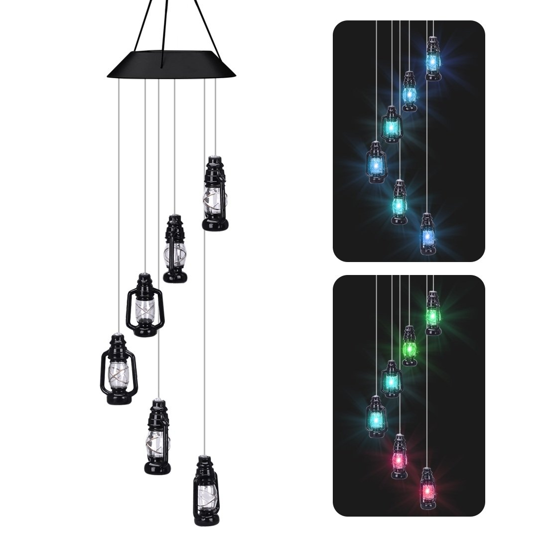 LUCKYDIY LED Solar Wind Chime, Changing Color Waterproof Six Lantern Lamp Wind Chimes For Home Party Night Garden Decoration