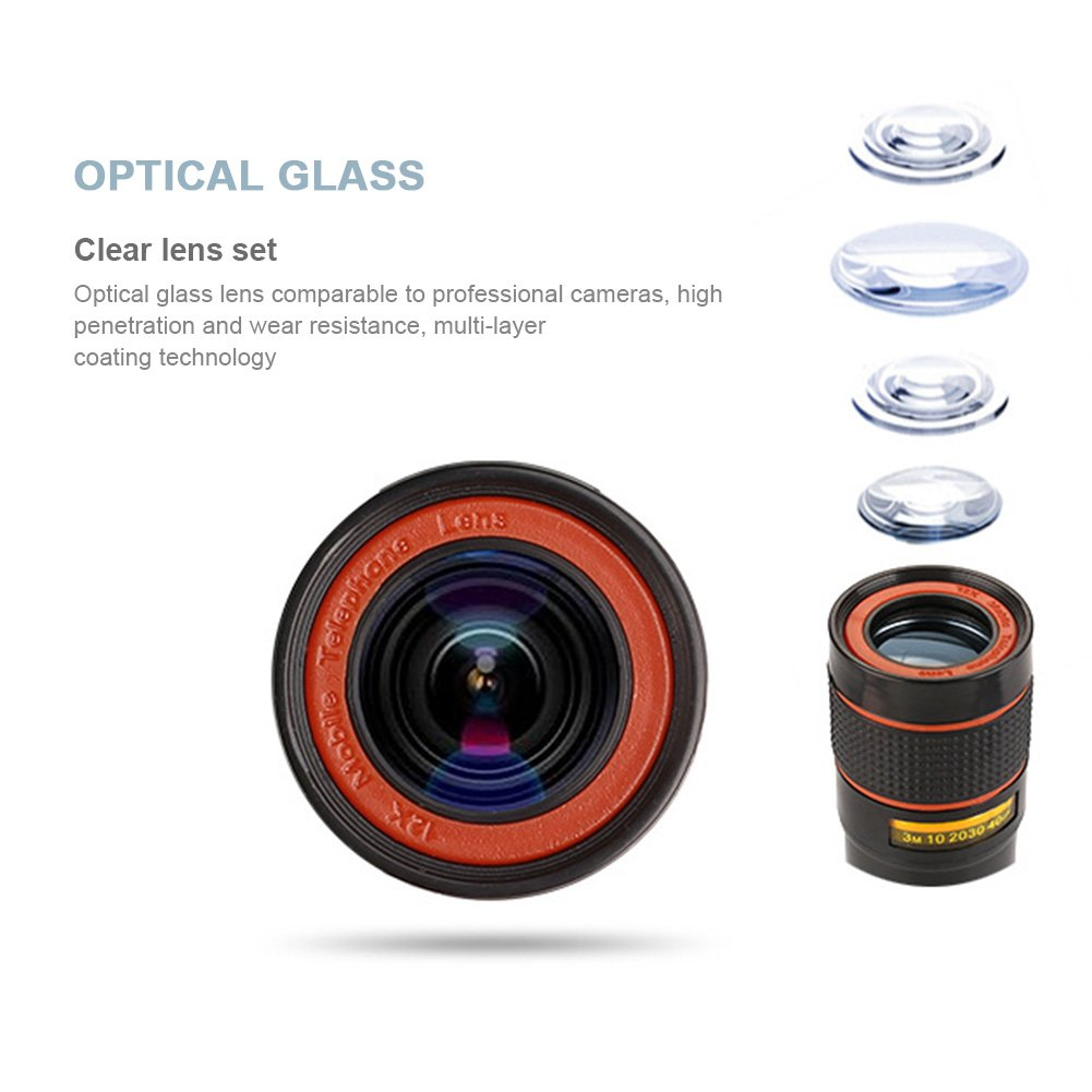 Majome 12X Optical Zoom Telescope Camera Lens High Clear Phone Telescope for iPhone 6 7 Samsung Sony