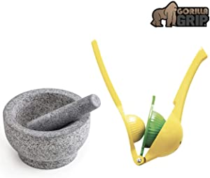 Gorilla Grip Mortar and Pestle Set and Citrus Squeezer, Granite Mortar and Pestle Holds 2 Cups, Manual Hand Juicer Good for Limes, Lemons, and Fruit, 2 Item Bundle
