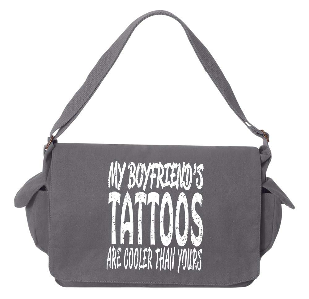 Tenacitee Boyfriends Tattoos Flamingo Raw Edge Canvas Messenger Bag