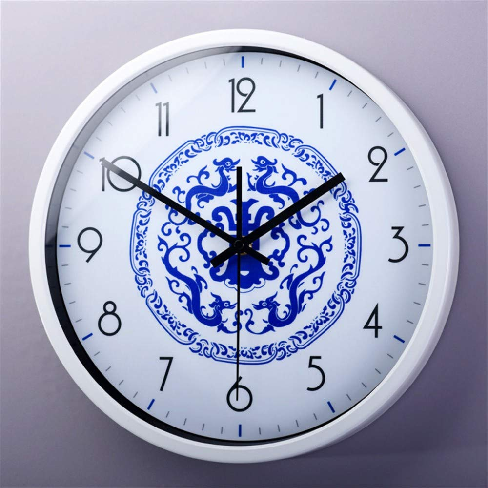Silent wallclock dustproof Glass Cover La quintaesencia China arte Simple sala de Estar dormitorio decoración Estilo Chino Azul y Blanco reloj de cuarzo ...