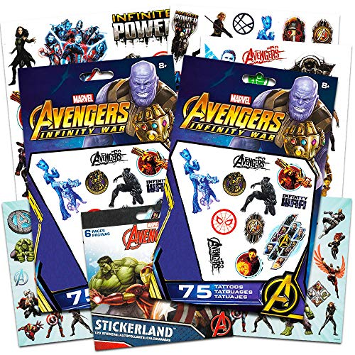 Marvel Avengers Tattoos and Stickers Party Supplies Kit (6 Party Favor Packs: 150 Temporary Tattoos, 120 Stickers -