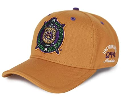 f59ebd4f40944 Omega Psi Phi Men s Invictus Adjustable Curled Cap Gold at Amazon Men s  Clothing store