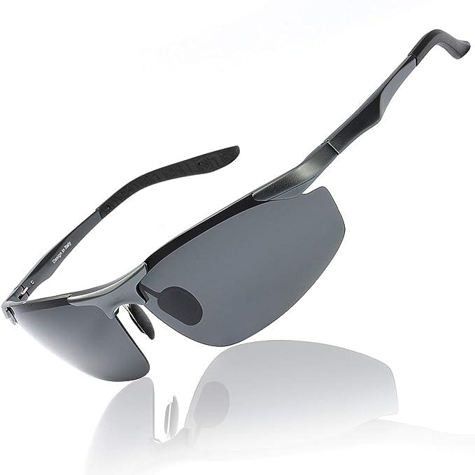 OSVAW Gafas de sol Polarizadas para Hombre con Montura Metálica y Protección Ultravioleta UV400 para Conducir