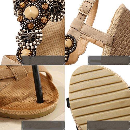 Strand PU Ethnic Sommer Schwarz Wind Damenschuhe Strass Feifei Sandalen Beige Material Beige Mode Optional Rqzwpxn0