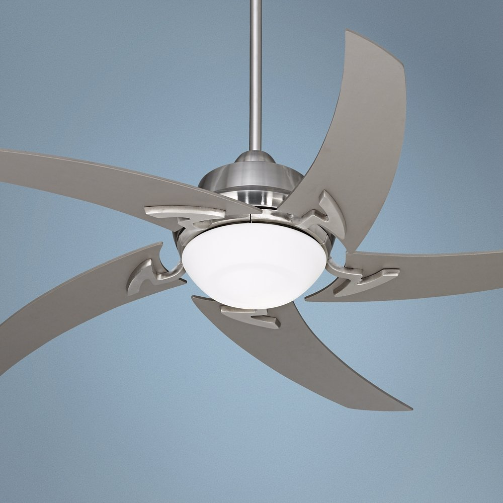 52 Casa Vieja Capri Brushed Nickel Ceiling Fan With Light Co Uk Lighting