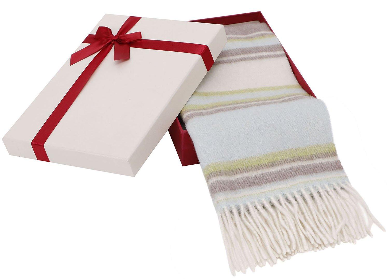 Men's Soft Cashmere Winter Scarf Gift Box Set, Light Green Strip