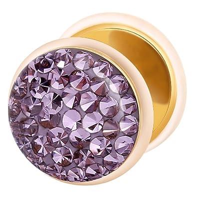 Dilatador Falso Piercing Plug Dorado, Pendiente, Multi Cristales Lila Tanzanita: Amazon.es: Joyería