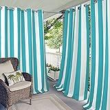 gazebo curtains amazon Elrene Home Fashions Indoor/Outdoor Patio Gazebo Pergola Cabana Stripe Grommet Top Single Panel Window Curtain Drape, 50 Inch Wide X 95 Inch Long, Turquoise (1 Panel)