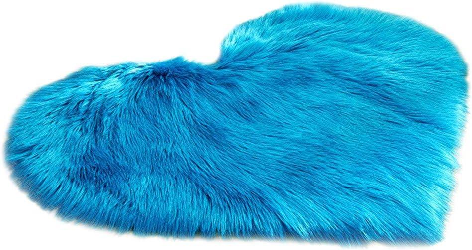 BONJIU Beautiful Love Heart Rug Faux Fur Mats Wool Imitation Carpet Sheepskin Area Rugs Non Slip Blanket Bedroom Shaggy Mats for Home Christmas New Year Decor