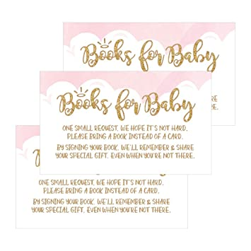 Amazon 25 books for baby request insert card for pink girl 25 books for baby request insert card for pink girl heaven sent baby shower invitations or filmwisefo
