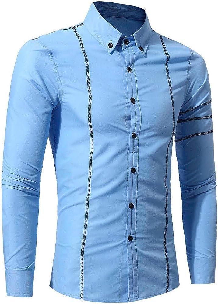 YIHANK - Camiseta de Manga Larga para Hombre Azul Celeste ...