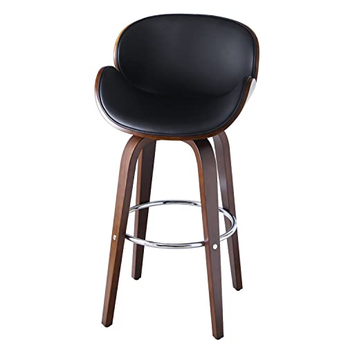 Decent Home Walnut Bentwood Swivel Barstool Chair Height with Curved Back Armrest and Black Vinyl Seat