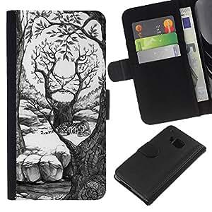 Stuss Case / Funda Carcasa PU de Cuero - Arte Dibujo Bosque Blanco - HTC One M7