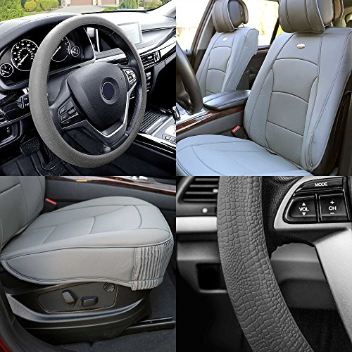 - FH Group PU205102 Ultra Comfort Leatherette Cushion Pad Pair Set Seat Covers Solid Gray Color w. FH3001 Gray Silicone Steering Wheel Cover- Fit Most Car, Truck, SUV, or Van