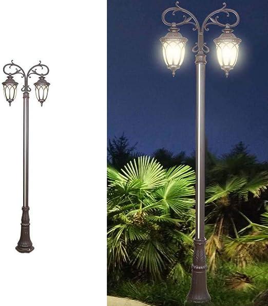 DO-MF Luces de Calle solares Luces de jardín de Doble Cabezal Perfil de Aluminio Luces LED solares Luces de Carretera al Aire Libre: Amazon.es: Jardín