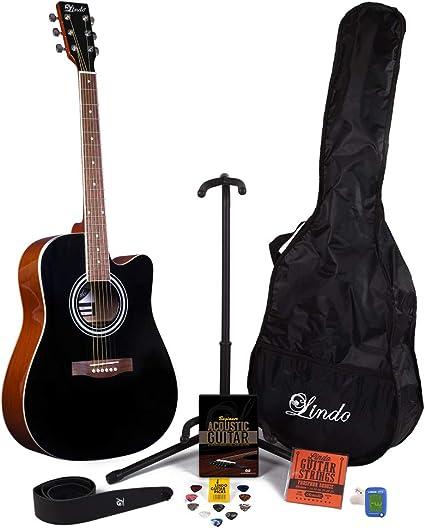 Lindo Negro 42 C guitarra acústica y completo Pack de accesorios ...