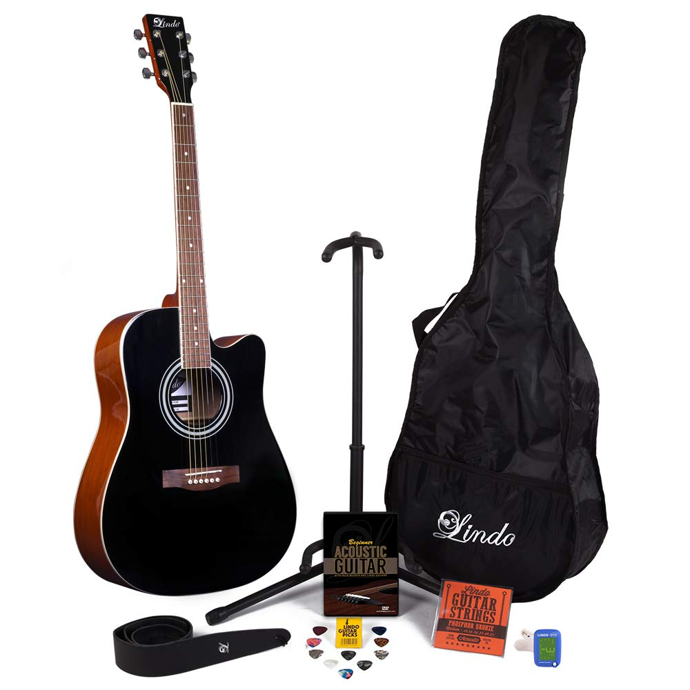 Lindo Apprentice Black Gloss Akustikgitarre (42C/BK) & Zubehö rset mit alles! Lindo Ltd