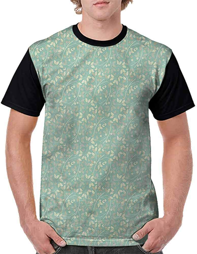 Casual Short Sleeve Graphic Tee Shirts,Spring Daisy Leaf Fashion Personality Customization