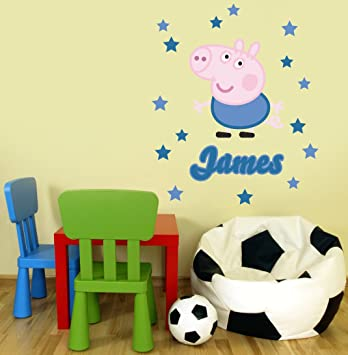 Peppa Pig Character George Pig Personalised Name Childrenu0027s Bedroom Nursery  Removable Wall Sticker Wall Decal Wall Part 62