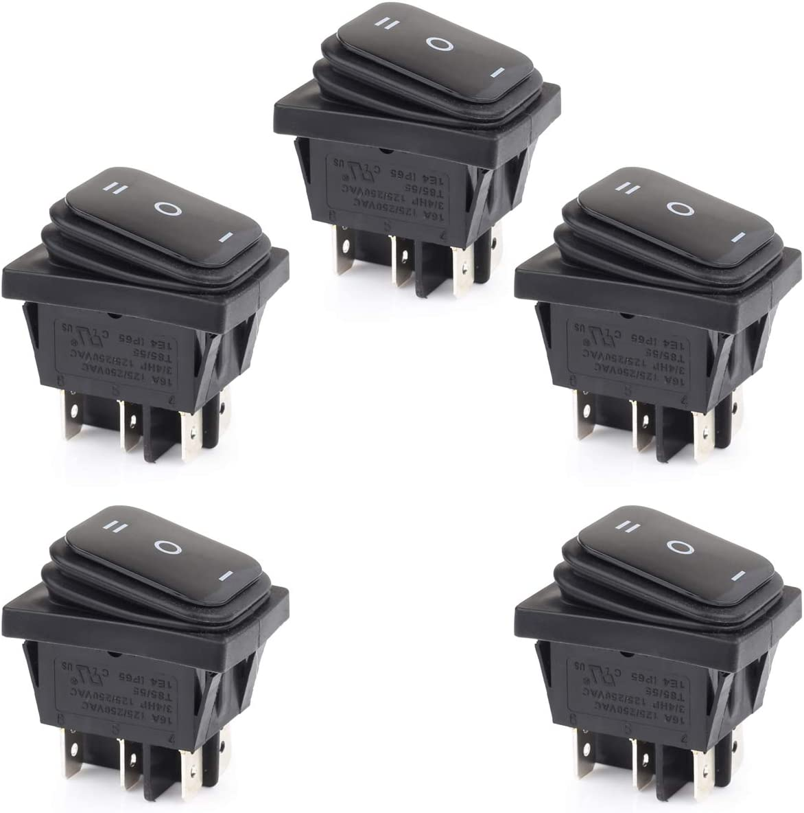 Clyxgs Single Side Boat Switch Rocker Switch 3 Files All Black 16A 125VAC 3 Foot Silver Contacts 5PCS