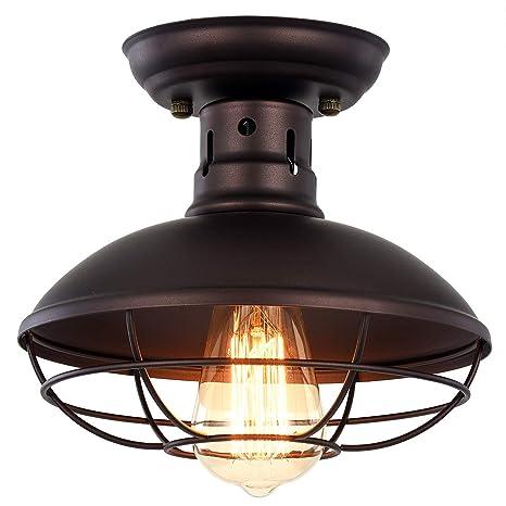 Pauwer - Lámpara de techo de metal industrial con forma de ...