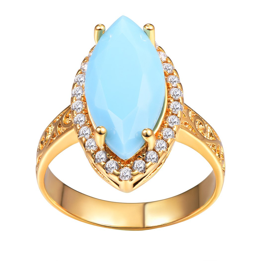 Vintage Blue Turquoise Ring, Marquise Shaped Ring, Gold Plated Bohemian Style/Cocktail Ring Size 6