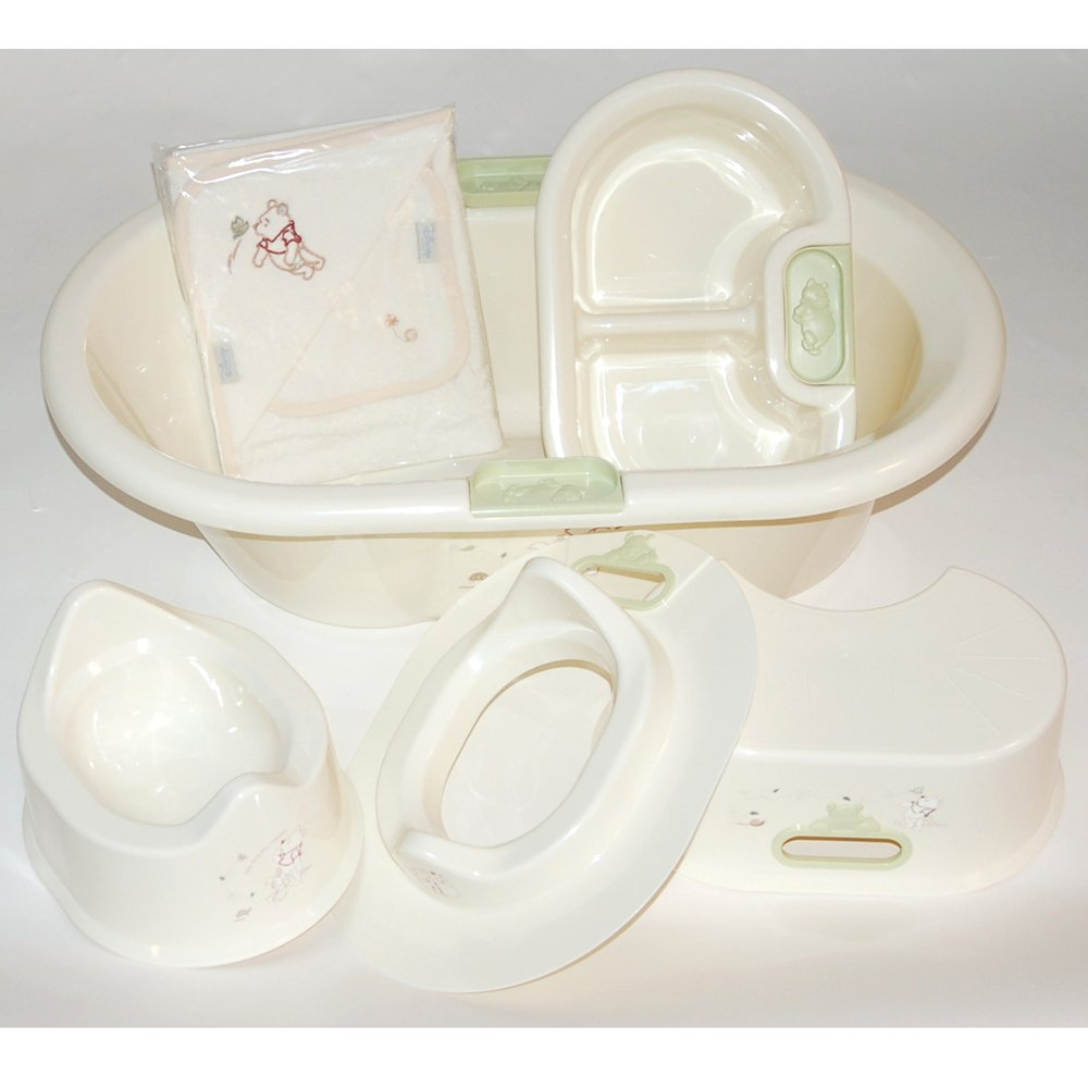 Winnie the pooh bathroom sets - Baby Luxury Winnie The Pooh Bath Set Toilet Training Set Amazon Co Uk Kitchen Home