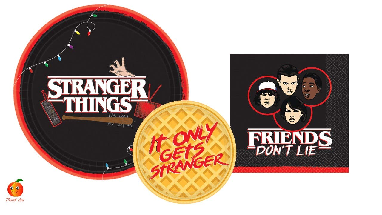 Stranger Things Party Supply Set with Paper Plates and Napkins for 8 by Amscan by Peach State