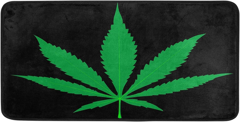 ALAZA Marijuana Leaf Black Non Slip Kitchen Floor Mat Kitchen Rug for Entryway Hallway Bathroom Living Room Bedroom 39 x 20 inches(1.7' x 3.3')