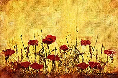Flower Oil Painting on Canvas(100% Hand-painting),Red Flower Pianting Art Vintage Home Decoration Art 48x72inch