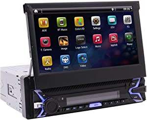 Android 9.0 Pie Single Din Car Stereo 7 Inch Flip Out Capacitive Touch Screen Support Bluetooth WiFi GPS Navigation Mirror Link AM/FM Car Radio OBD USB SD AUX Cam-in with Backup Camera and Microphone