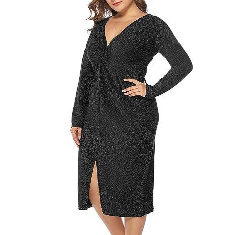 Amazon.com: TRENTON Women\'s Dresses, Plus Size Shimmer Pleated V ...