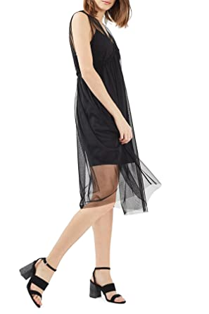 Top Shop Topshop – Layered Tulle Slipdress, Black, Size 10Uk- 6US