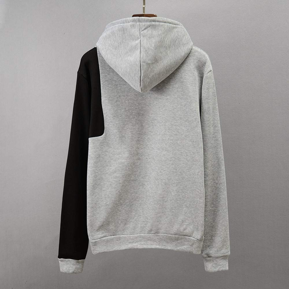 Mens Jacket,Mens Autumn Winter Long Sleeve Patchwork Hooded Sweatshirt Top Blouse T Shirt