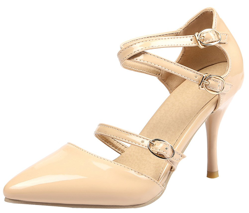 T&Mates Womens Fashion Pointed Toe Stiletto Heel Adjustable Cross Strap Buckles Pumps (5 B(M)US,Nude)
