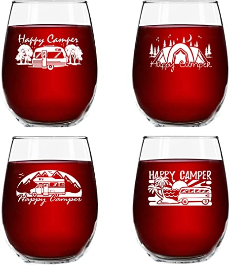 Set Of 4 Happy Camper Wine Glasses 15 Oz Cute Birthday Present For Camping Lovers Who Travel Funny Humorous Rv Camp Gifts For Women Glamping Accessories