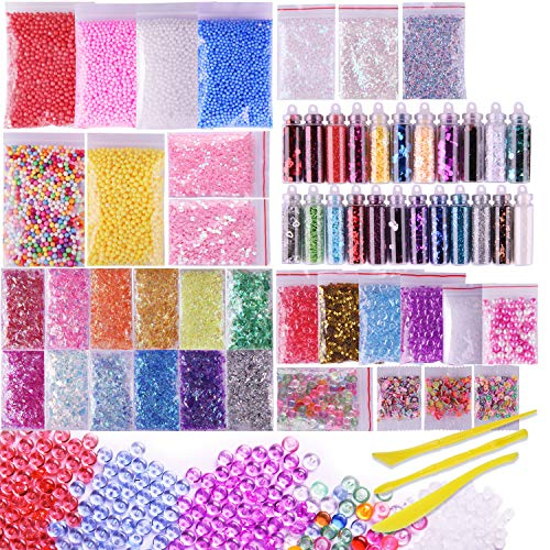 VIVOE Slime Supplies Kit - 60 Packs Slime Beads Charms Include Foam Balls, Fishbowl Beads, Glitter, Fruit Slices, Pearls, Slime Mylar Flake for Arts Crafts Ornament, Homemade Sli(60 pack Supplies Kit)
