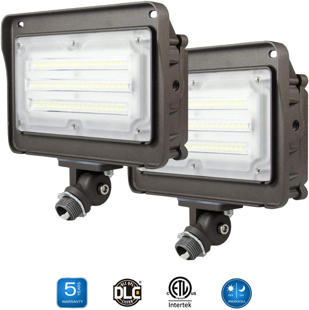 2 Pack Dakason 50W LED Flood Light, Dusk-to-Dawn Photocell, 180 Adjustable Arm, Replaces 150-200W HPS MH, IP65 Waterproof Outdoor Security Lighting Fixture, 100-277Vac 5000K 6000lm ETL DLC Listed