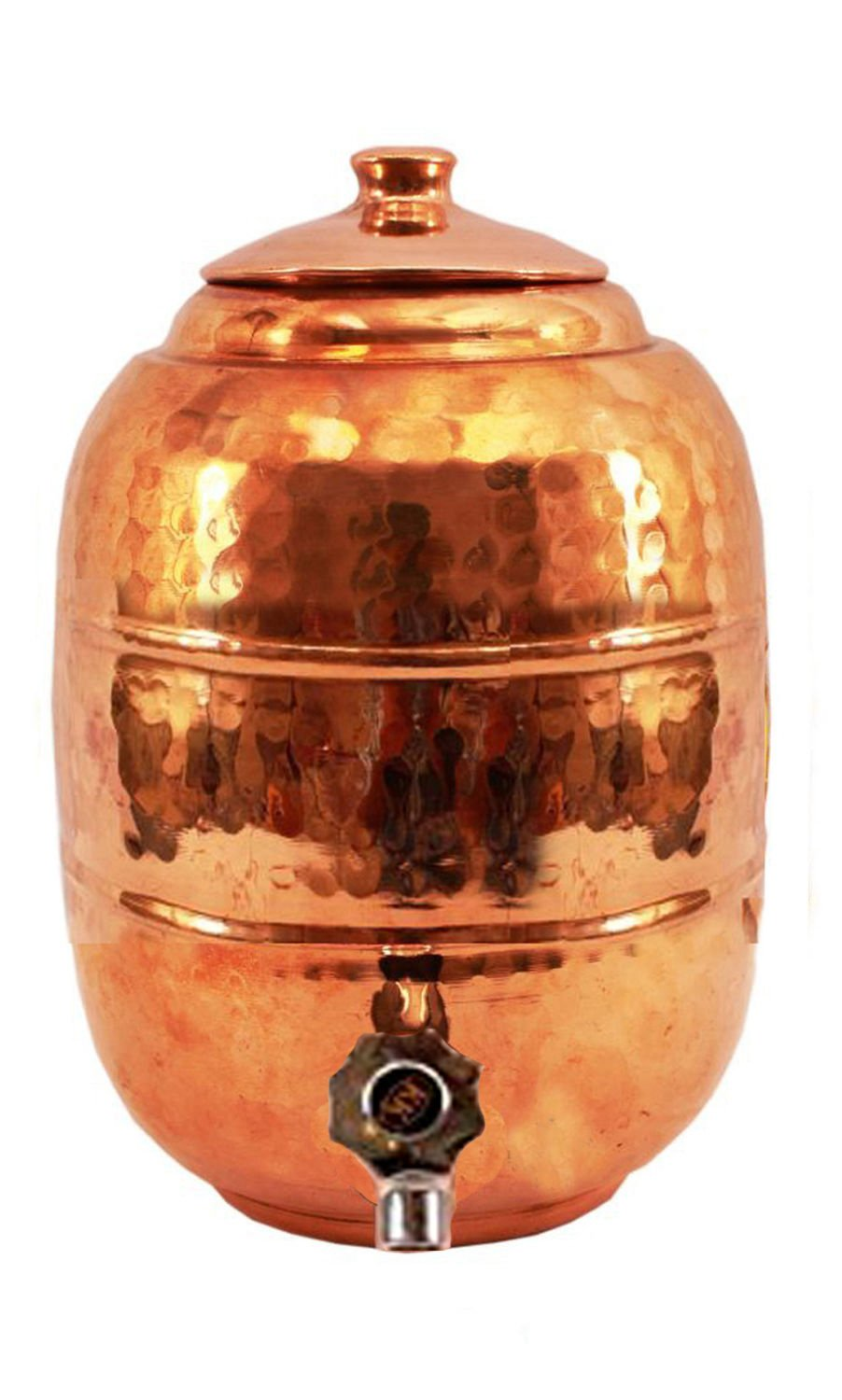 Rastogi Handicrafts Hammered Pure Copper 6.5 ltr. Water Pot Storage Tank - Tumble With Tap Kitchen Home Garden by Rastogi Handicrafts (Image #2)