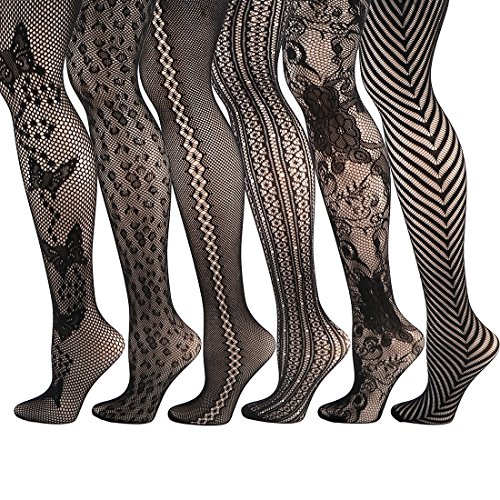 kilofly 6pc Women's Sexy Fishnet Pantyhose Sheer Lace Stocking Tights Value Pack]()