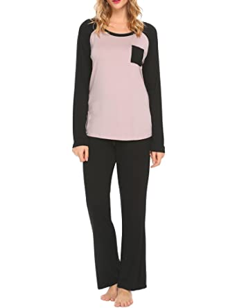 929b46b5e4 Ekouaer Women s Pajamas Long Sleeve Top with Pockets and Lounge Pants Set(Black  +Camel
