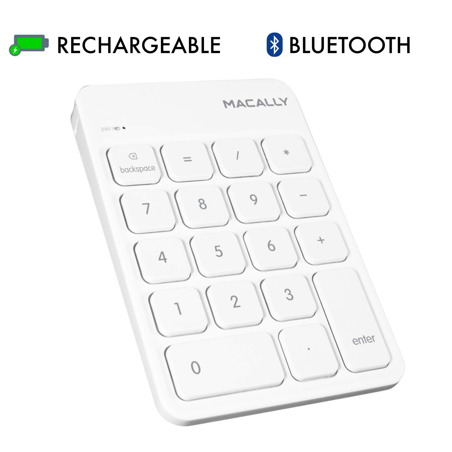 Macally Wireless Bluetooth Numeric Keypad Keyboard for Laptop, Apple Mac iMac MacBook Pro/Air, iPad Windows PC, Tablet, or Desktop Computer Rechargeable 18 Key Slim Number Pad Numerical Numpad - White by Macally